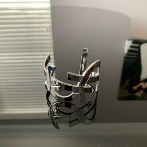Saint Laurent Silver Wide YSL Logo Cuff Bracelet